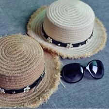 Women's Lady Wide Brim Flowers Sun Hat Travel Floppy Summer Beach Cap_Cute