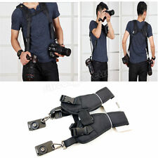 Black Dual Shoulder Quick Release Belt Sling Strap For 2 DSLR Camera Canon Nikon