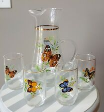 Vintage Yellow Purple Butterfly Clear Glass Gold Trim Pitcher & 4 Cups Barware