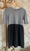 Topshop Dress. Size 8. Black. Grey. Silky Skirt. Fit And Flare