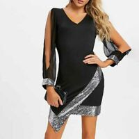Women Sexy Deep -V Neck Hollow Patchwork Shiny Long Sleeve Club Wear Dress S
