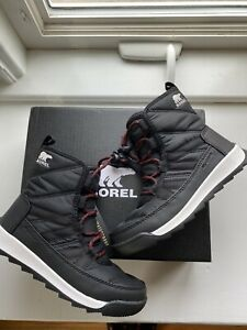 Sorel Girls Whitney Short Lace Black Winter Snow Boots Size 1 Youth New