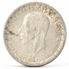 2 corone argento moneta Svezia 1944 Gustaf Gustav V Sveriges SILVER COIN Sweden