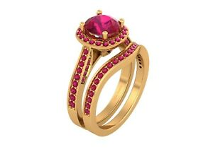 Halo Pink Ruby Engagement Ring Eternity Band Bridal Wedding Set Solid 925 Silver