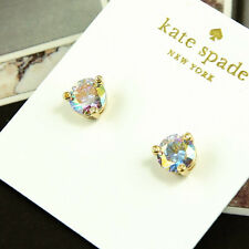 NWT KATE SPADE SQUARE RISE AND SHINE ROUND STUD EARRINGS $38 CZ PURPLE AB