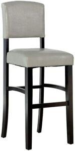 Linon Home Monaco Bar Pub Dining Stool Grey Wood Legs