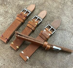 Size 18/20/22mm Vintage Style Handmade Brown Cow Leather Watch Strap Band #110A