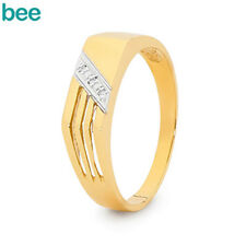 MENS Diamond 9ct 9k Solid Yellow Gold Band Ring Size U 10.25 22344