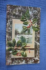 Vintage Postcard Christmas Holly With Red Berries And A Winter Stream Scene