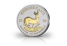 Krügerrand 1 oz Silber 2020 Südafrika veredelt mit 24 Karat Goldapplikation