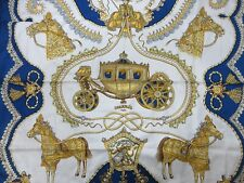 Authentic HERMES Scarf 100% Silk Paperoles Blue Multi Color Good 85508
