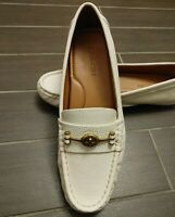 COACH size 7.5 Womens CROSBY Driver Ivory White Pebbeled LEATHER Classic NEW