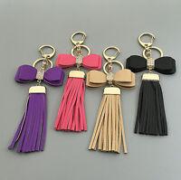 Leather Tassel Bows Crystal Handmade Handbag Purse Bag Keychain Key Ring