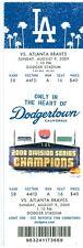 2009 Dodgers vs Braves Ticket: Javier Vazquez win/ Matt Diaz  home run