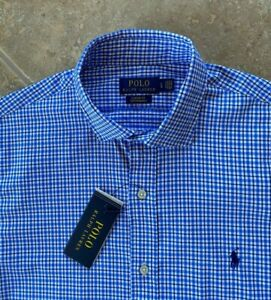 Ralph Lauren Performance Button Down Shirt Mens L Blue/Black Check wPony NWT $98