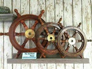 "12"", 18"", 24"" Solid Brass Wood Ship Wheel ~ Nautical Boat Wooden Brass Steering"