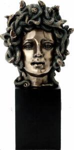 Medusa: Greek Mythology Gorgon on plinth Cold Cast Bronze bust 21cm / 8.26inches