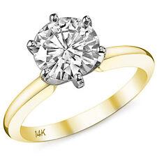1.50 ct 14k Yellow / White Gold Round Cut Moissanite 6 Prong Engagement Ring