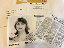 Linda Webb Singer 8 x 10 Promo Autograph Photo B & W 1980 Rare