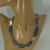 Art Deco Estate Czech Glass Unusual Blue Stone Sterling Silver Necklace
