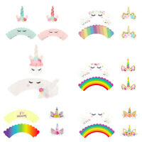 24pcs Rainbow Unicorn Cupcake Cake Wrappers Toppers Kids Birthday Party Supplies