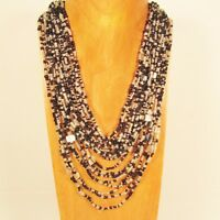 """25"""" Waterfall Black Clear Multi Strand Shell Chip Handmade Seed Bead Necklace"""