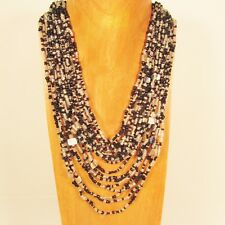 "25"" Waterfall Black Clear Multi Strand Shell Chip Handmade Seed Bead Necklace"