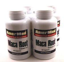 4X Maca Root 600mg Aphrodisiac Enhancer 90 Caps Strength Stamina Energy