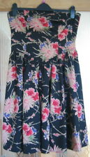 NEW LOOK BLACK FLORAL FITTED OFF THE SHOULDER DRESS - SIZE 12