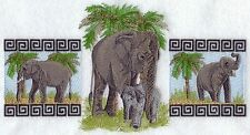 ELEPHANT EMBROIDERED SET 2 BATHROOM HAND TOWELS by laura