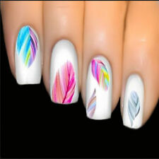 Colorful Feather Feature Nail Art Water Transfer Decal Sticker Rainbow Dreams