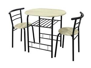0101 - Modern Black And Oak Dining Table and 2 Chairs Set Metal Frame Kitchen