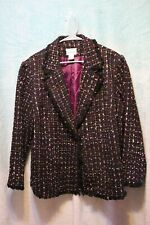 ⚜Woman's Tufted 1 button Jacket by Breckenridge size 20~black/multi~color's