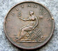 GREAT BRITAIN GEORGE III 1806 HALF 1/2 PENNY HALFPENNY, DENT ON OBVERSE