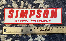 Vintage Original Red Simpson Safety Equipment Racing Race Sticker Decal