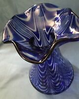 "11"" Beautiful Unique Cobalt Blue Glass Swirl VGC Vase"