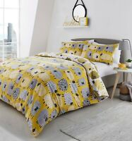 "Fusion ""Dotty Sheep"" Reversible Animal Easy Care Duvet Cover Bedding Set Ochre"