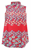 New Next size 6 - 22 Red Blue Floral Print Sleeveless High Roll Neck Top Blouse
