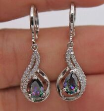 Women Hollow 18K White Gold Filled - MYSTIC Rainbow Topaz Waterdrop Earrings