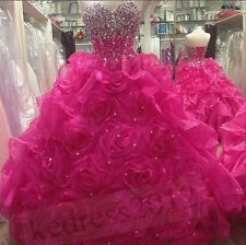 New Hot Pink Quinceanera Formal Prom Party Ball Gown Evening Dress Size 2-30++++