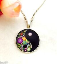 NEW Ying Yang Yin Cabochon Tibetan Silver Glass Chain Pendant FREE Necklace