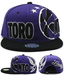 Toronto New Leader Retro BBall Sideway Raptors Purple Black Era Snapback Hat Cap