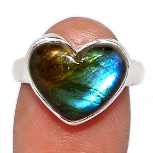 Heart - Labradorite - Madagascar 925 Sterling Silver Ring Jewelry s.6 BR102780