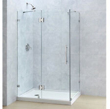 "QUATRALUX 46"" x 32"" x 72"" DREAMLINE 3/8"" FRAMELESS PIVOT SHOWER DOOR ENCLOSURE"