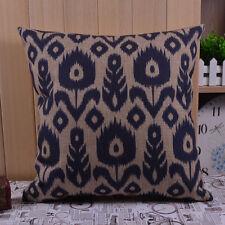 45cm x 45cm Navy Blue Floral Fishbone Ikat Style Linen Cushion Cover Pillow Case