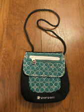 "Sherpani ""App"" Black & Teal Quilted Nylon Crossbody Tech Bag Padded Purse Zip"
