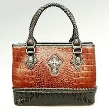 NWT Silverake Genuine Leather Rhinestone Cross Handbag, Cognac & Brown