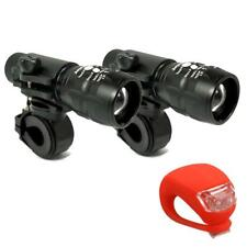 Bike Bicycle Lights Set CREE Q5 LED 2 x Zoomable Front + Silicone Rear