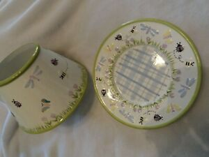 Yankee Candle Lg Topper Set Shade & Plate Green Trim Ladybug Bee Butterfly