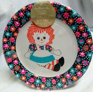 "Vintage 8pk Hallmark Raggety Ann Party Paper Plates 7"""